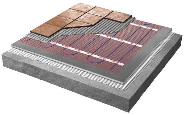 underfloor heating mat cutaway diagram