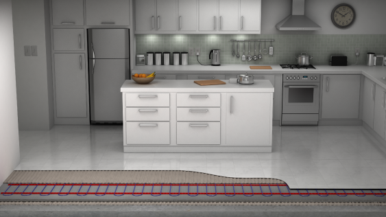 electric underfloor heating system in the kitchen